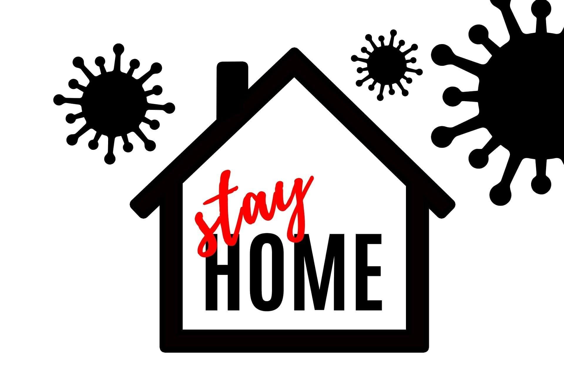 Black & white image of house & virus